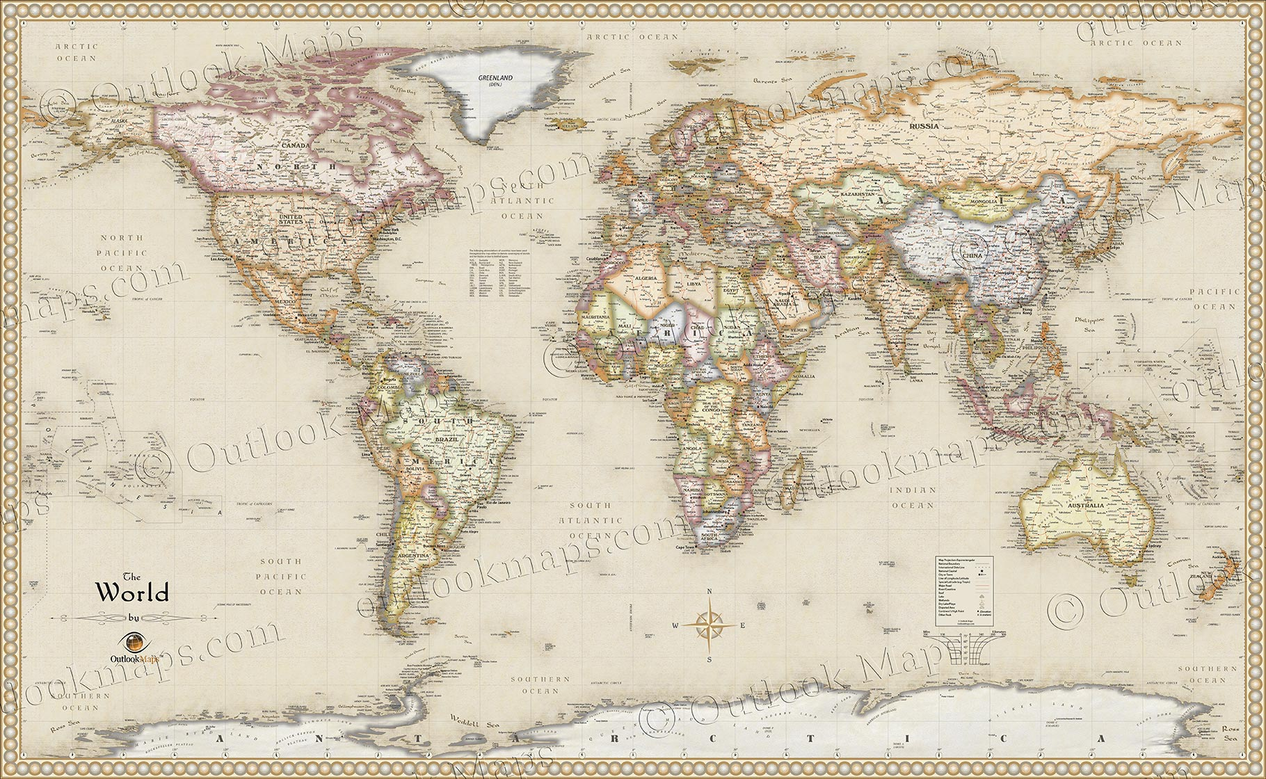 World antique style map current map in old vintage map style antique style world wall map gumiabroncs Gallery