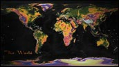 World Colorful Topographic Wall Map Poster