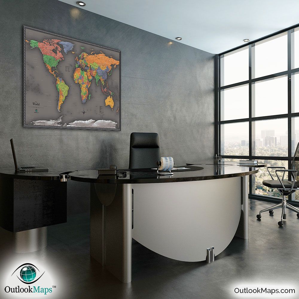 Cool color world map modern design world map contemporary world map in office gumiabroncs Image collections