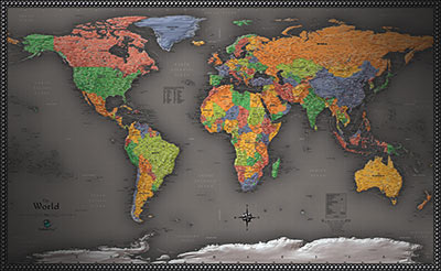 Cool Color Political Map of the World