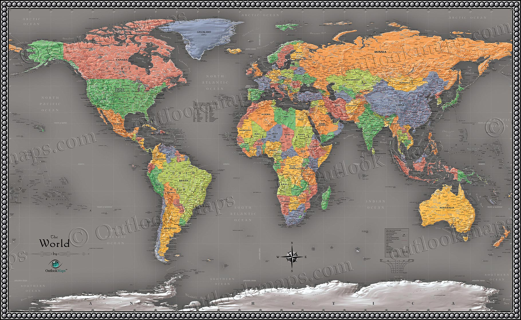 Cool color world map modern design world map cool colors world contemporary wall map gumiabroncs Choice Image