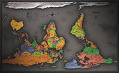 Cool Color Upside Down Map of the World