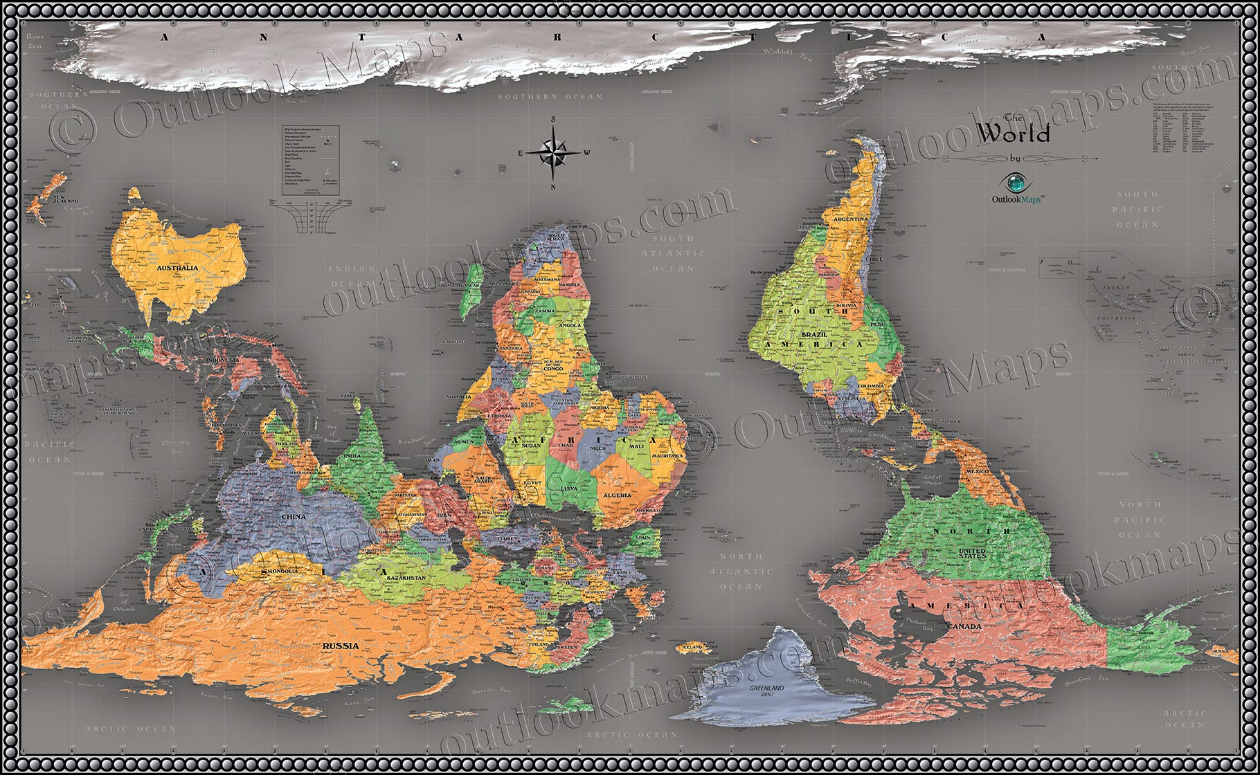 Cool Color Upside Down World Map Reversed Map