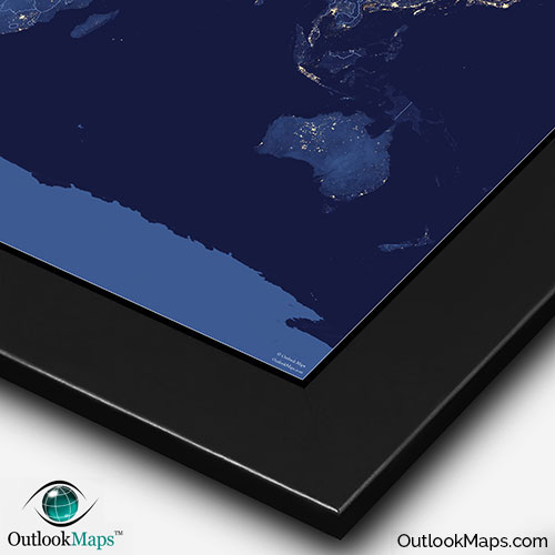 World map at night nasa satellite view of city lights nasa nighttime image with black frame gumiabroncs Images