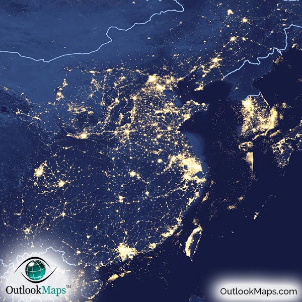 World Map at Night NASA Satellite View of City Lights