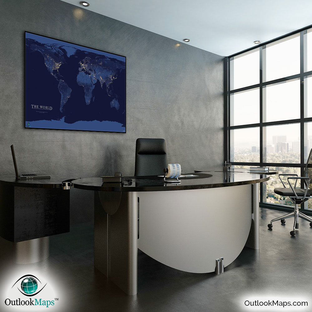 World map at night nasa satellite view of city lights world map of city lights in office gumiabroncs Gallery