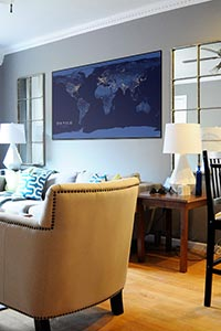 World Night Lights Map as Home Decor