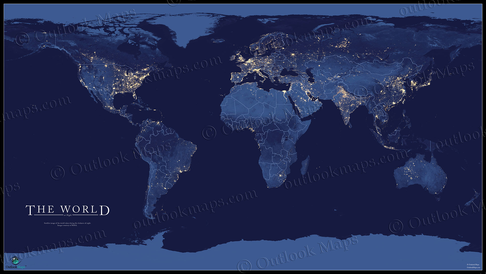 World map at night nasa satellite view of city lights world wall map at darkness showing city lights at night gumiabroncs Gallery