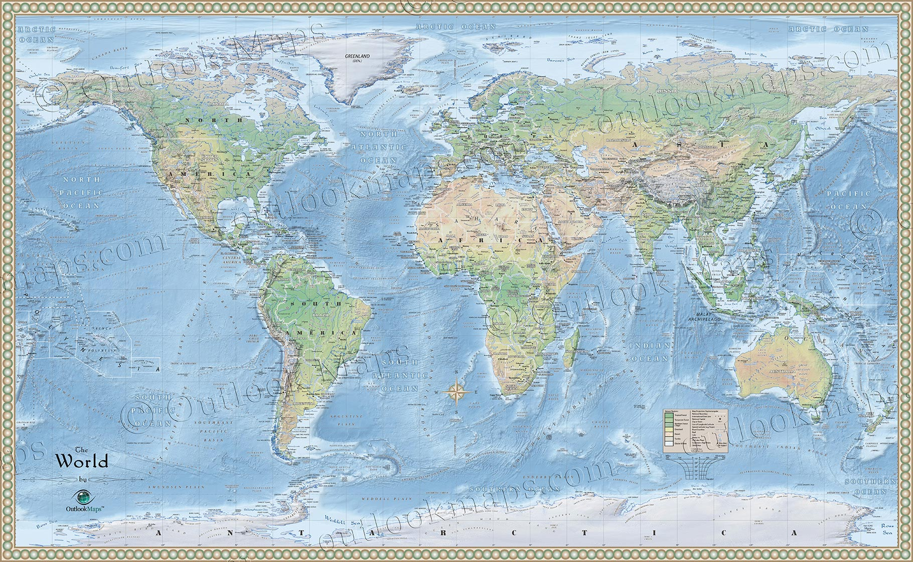 Physical Map of World | Environment Map of Natural Features