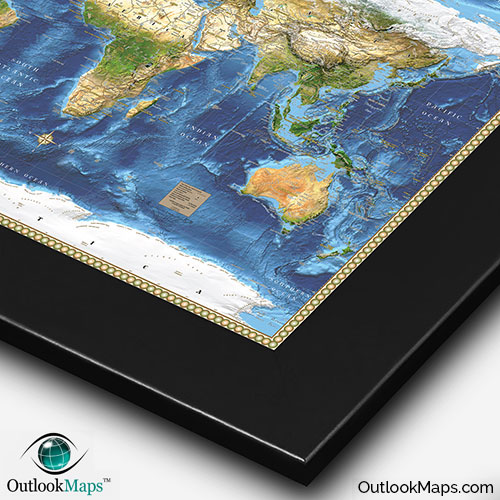 World satellite wall map detailed map with labels nasa world map with black frame gumiabroncs Image collections