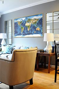 World Satellite Image Map as Home Decor