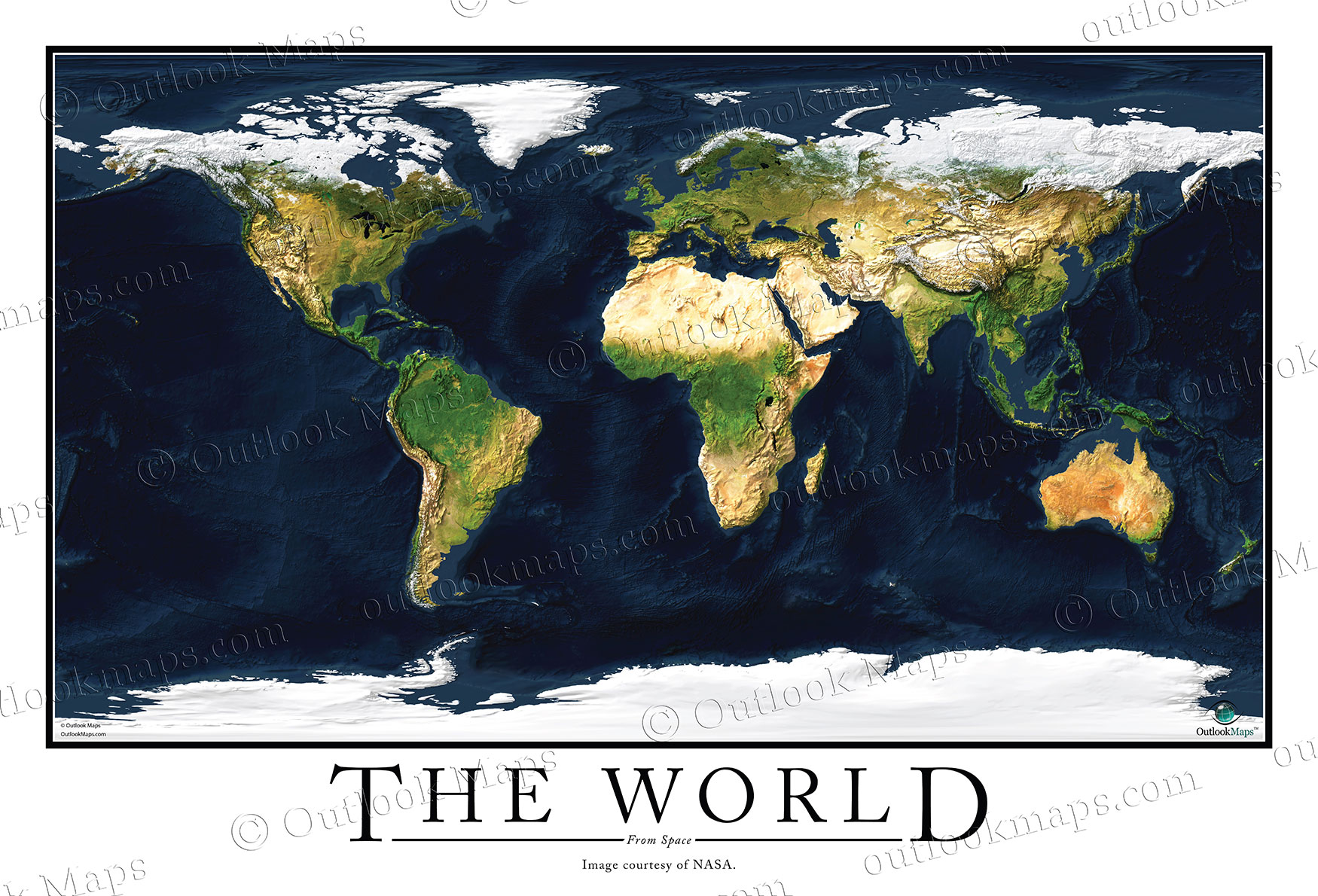 Satellite Map Poster of World High Detailed Image