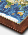 World Map from Space with Walnut Wood Frame