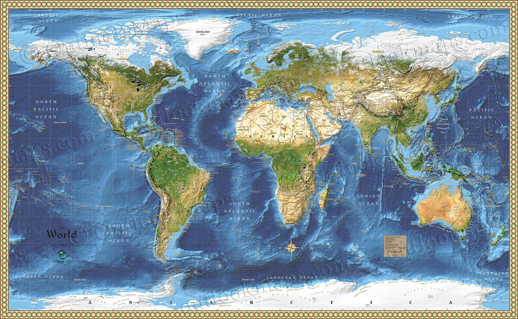 World Satellite Wall Map Detailed Map With Labels