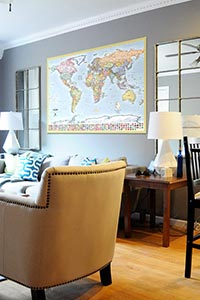 World Map with Flags as Home Decor