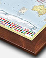 Colorful World Wall Map with Walnut Wood Frame