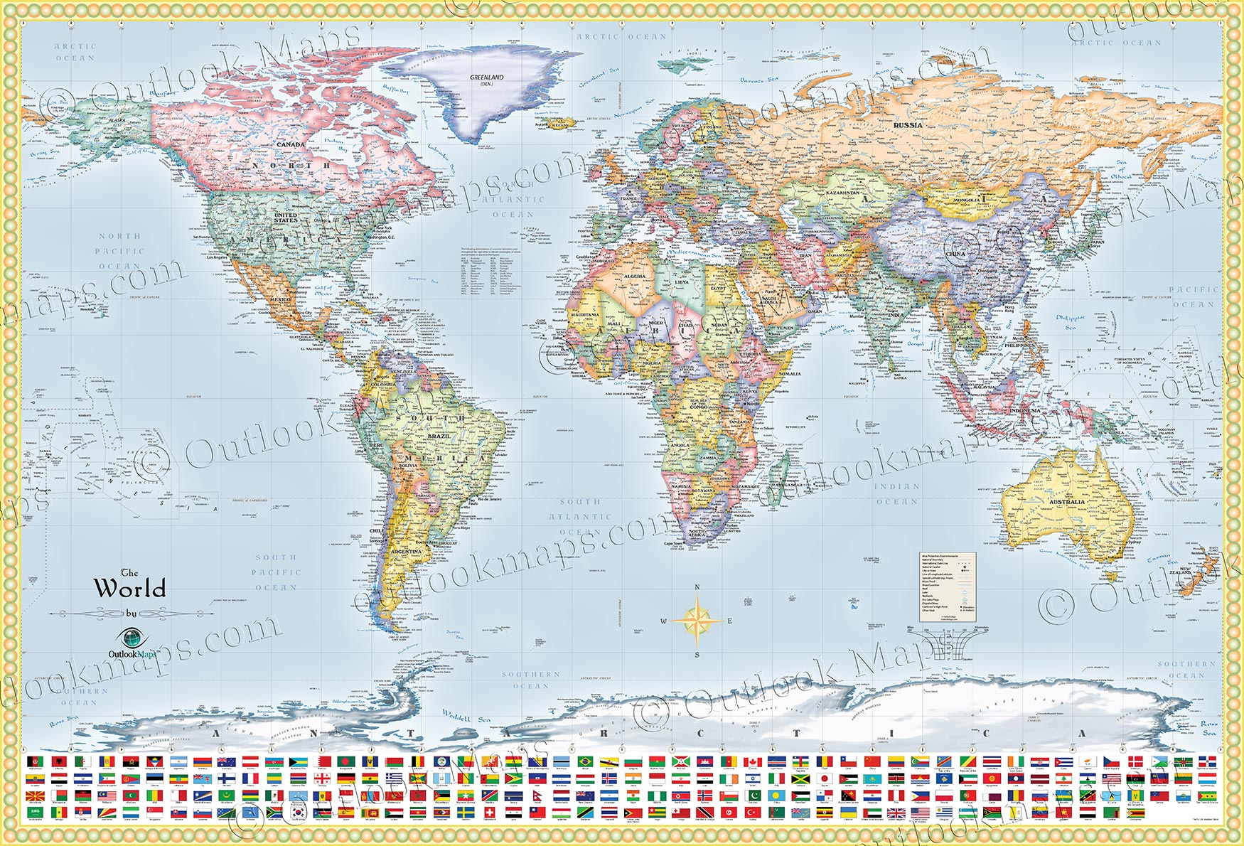 Political World Map with Flags All Countries Lots of Cities