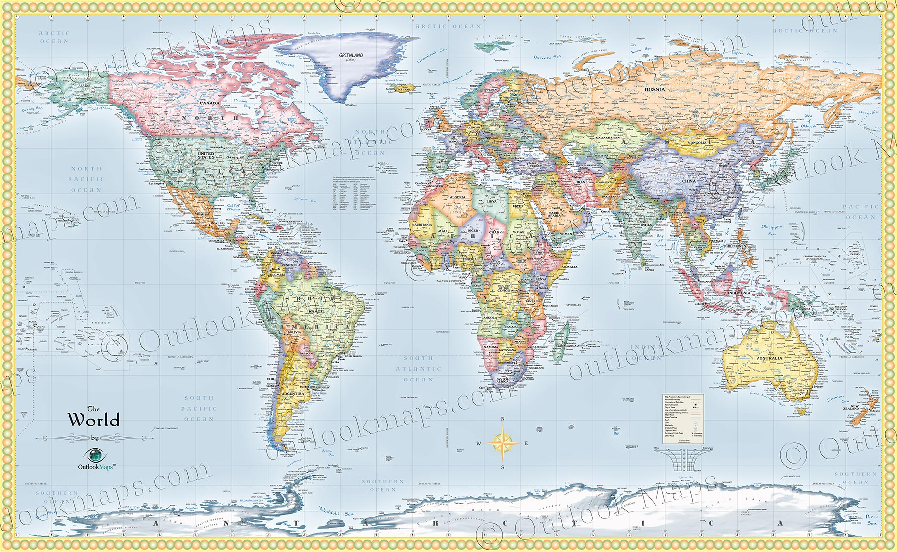 World Political Wall Map Standard World Map Very Detailed - Map of the world detailed