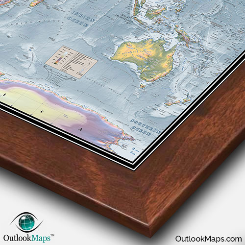 World topographical map topographic map of world elevation world wall map with walnut wood frame world physical topography gumiabroncs Images