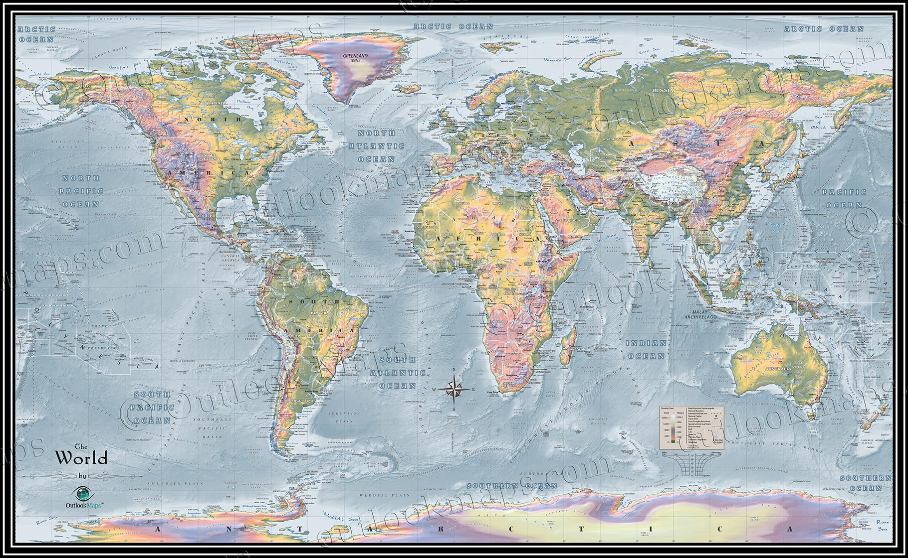 World Topographical Map  Topographic Map of World Elevation
