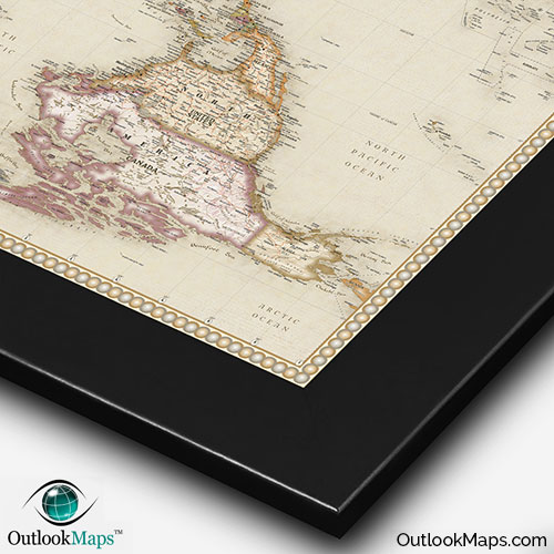 World upside down antique style map upside down antique map with black frame gumiabroncs Images