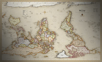 Antique Upside Down map of the World