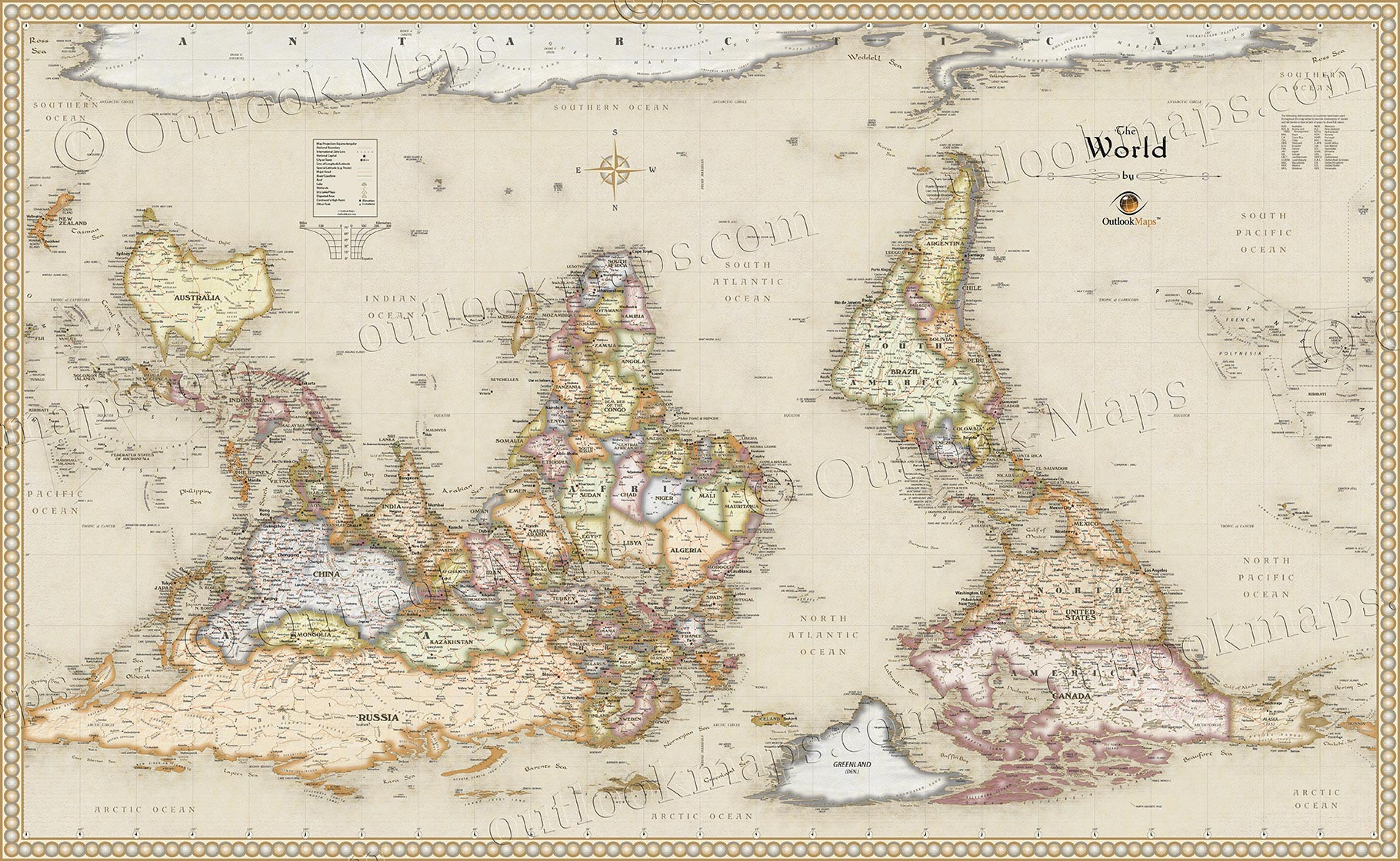 World upside down antique style map antique upside down map of the world gumiabroncs Image collections