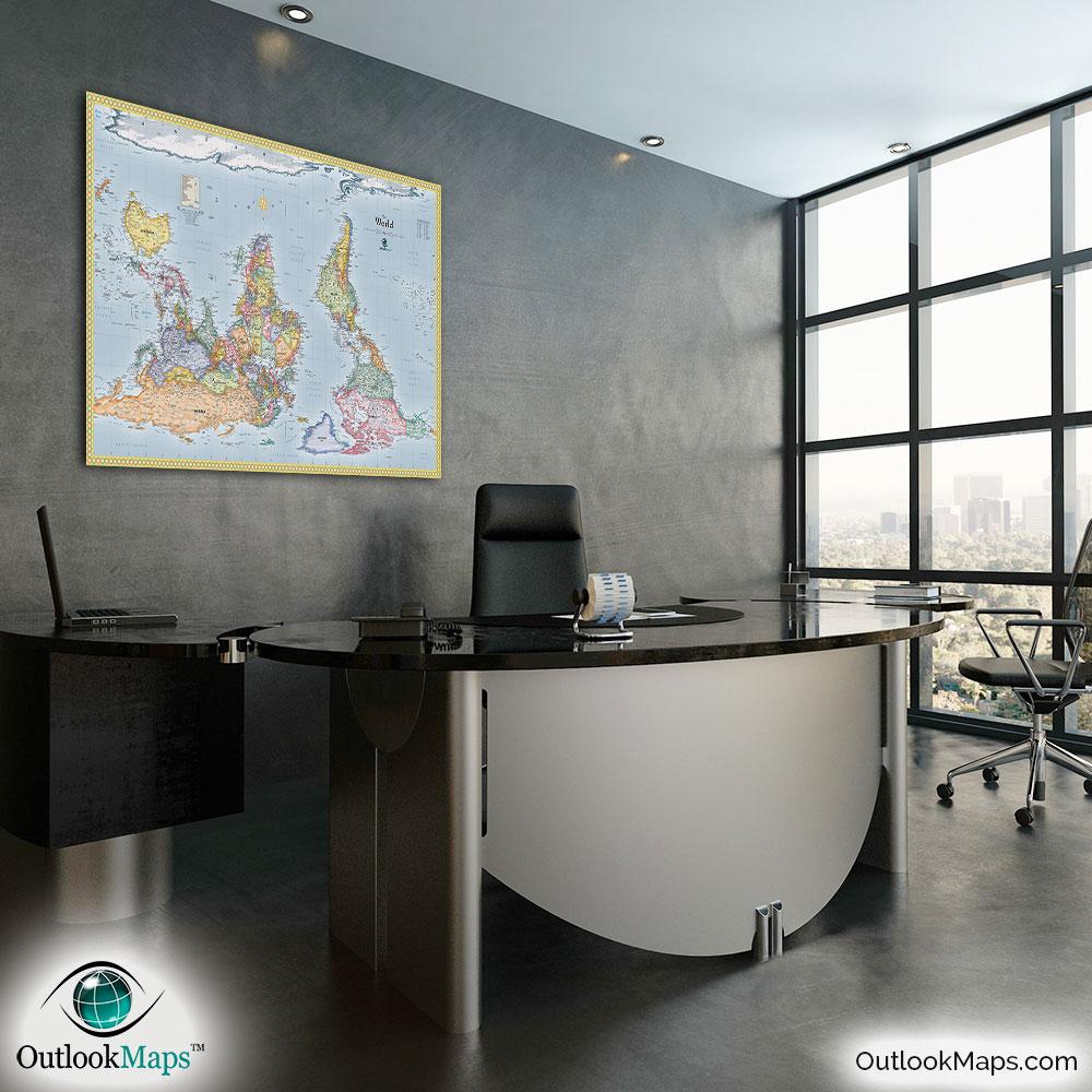 World Map Upside Down In Office
