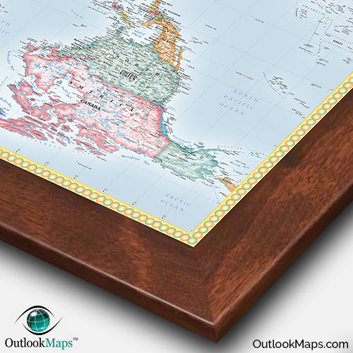 Upside down world map standard political map style reversed world map with walnut wood frame gumiabroncs