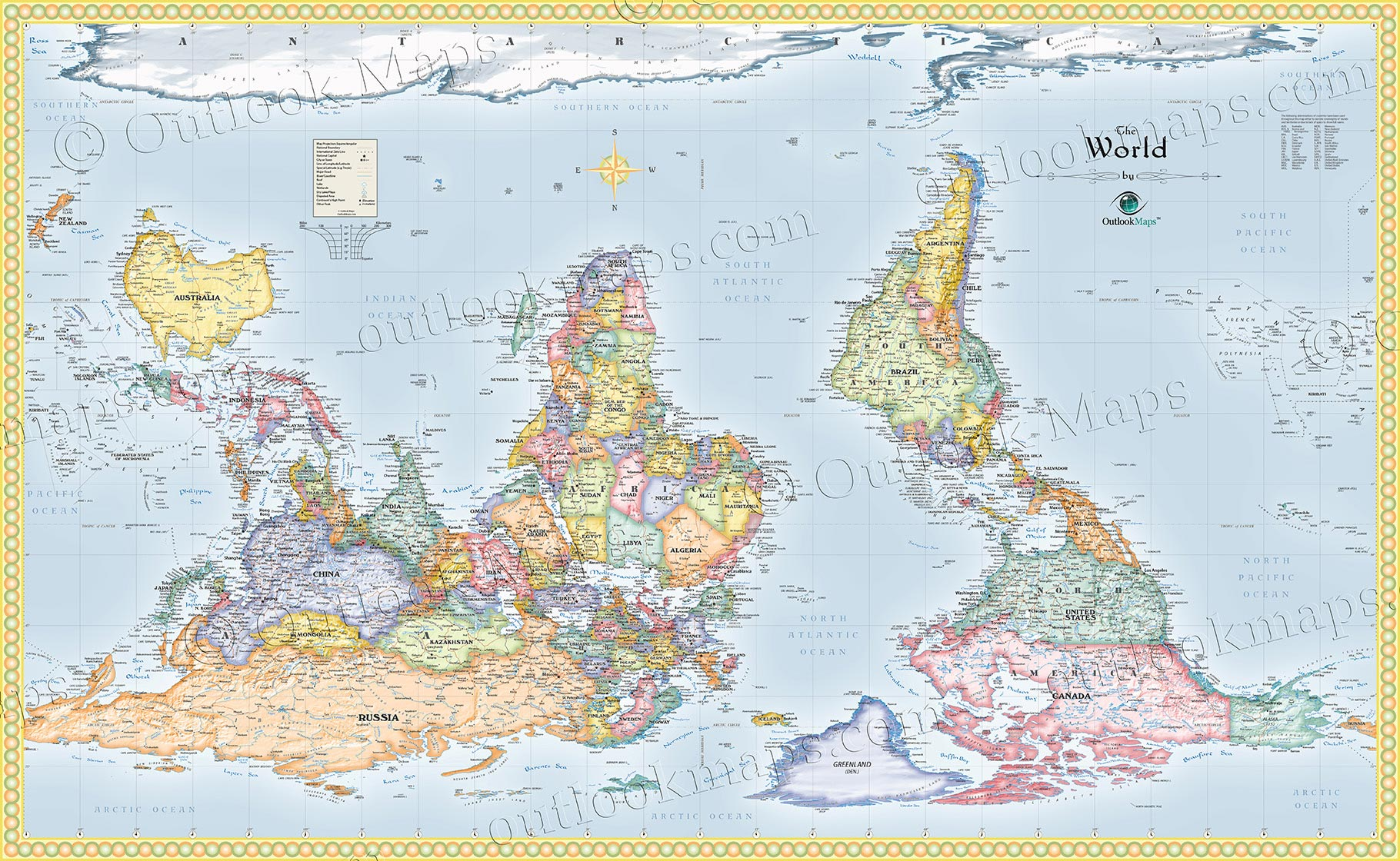 upside down world map standard political map style
