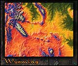 Topographic Wyoming Physical Wall Map