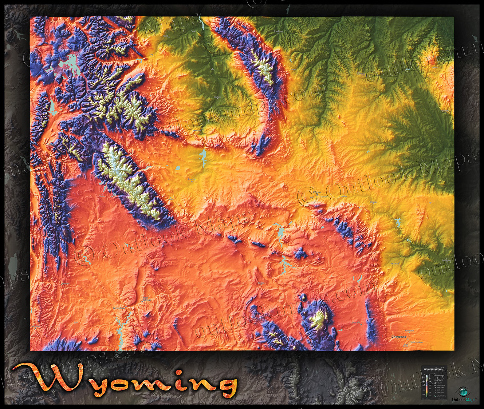 Mountain View Wyoming Map.Wyoming Topography Map Colorful Mountains Terrain