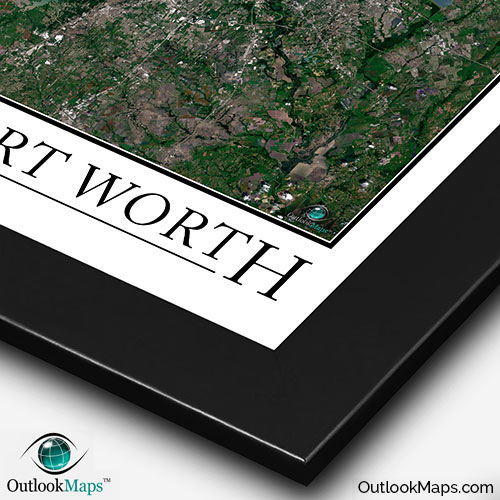 Dallas Ft Worth Satellite Map Print