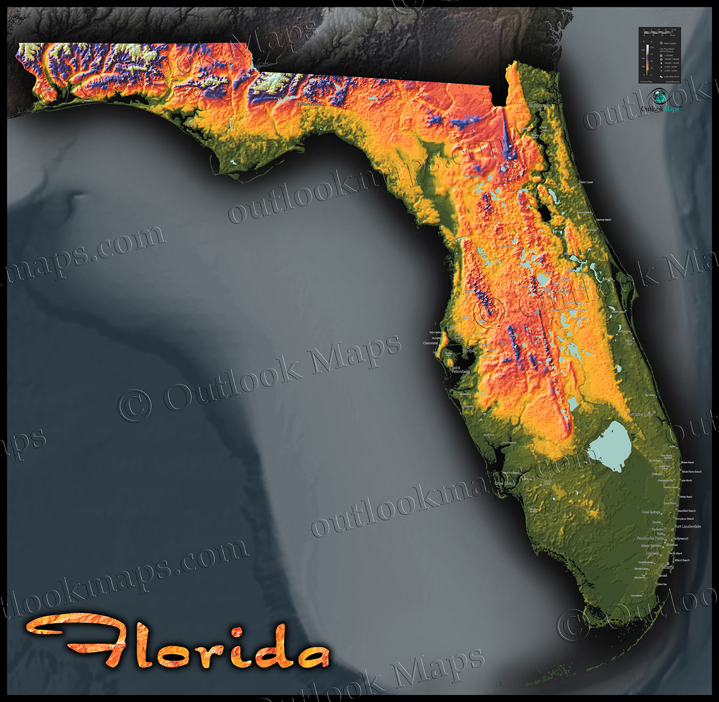 Florida Elevation Map Florida Topography Map | Colorful Natural Physical Landscape