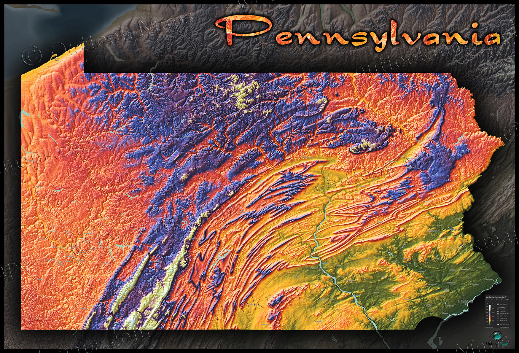 Topographical Map Of Pa Map of Pennsylvania | 3D Topography of Appalachians
