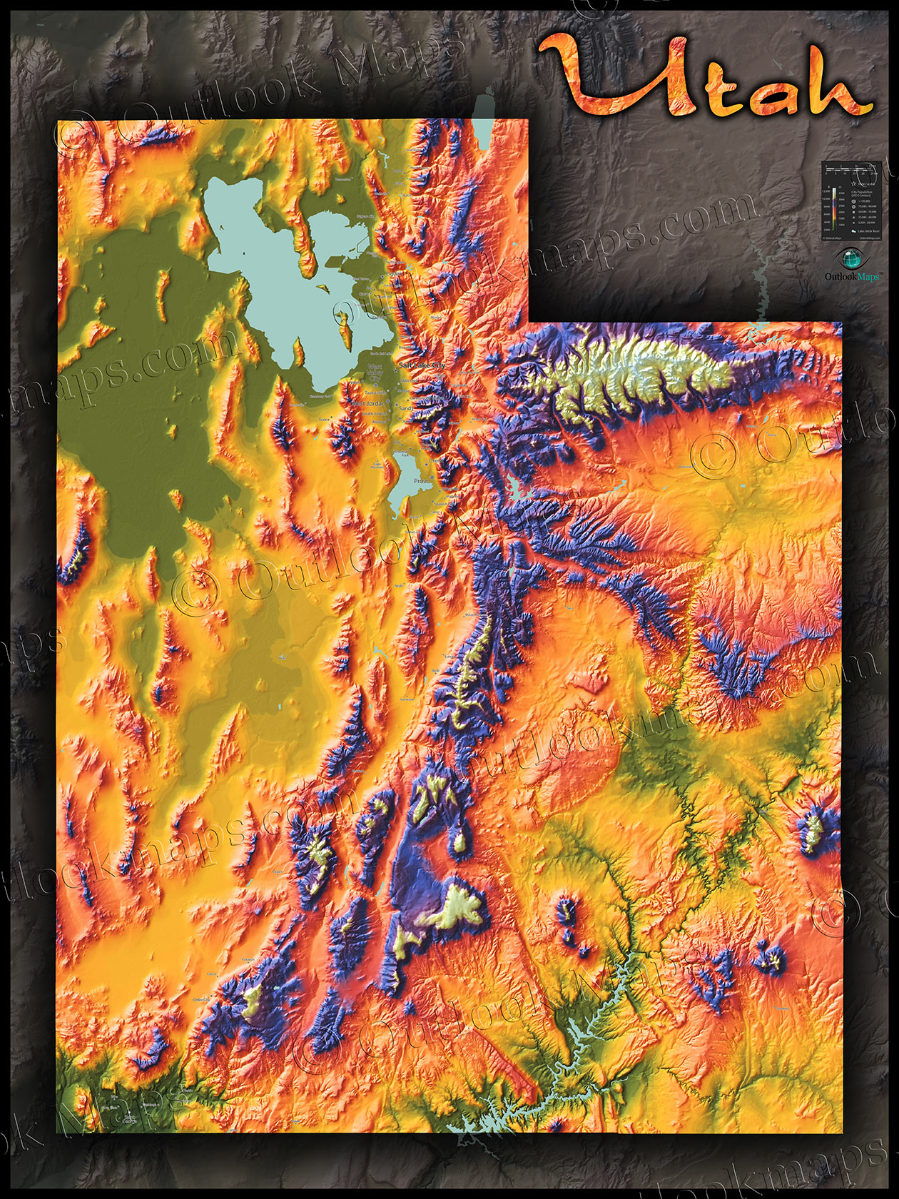 Topographical Map Of Utah Physical Map of Utah Topography | Colorful Mountains and Terrain Topographical Map Of Utah
