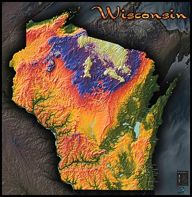 Wisconsin Topography Map Colorful 3d Physical Features